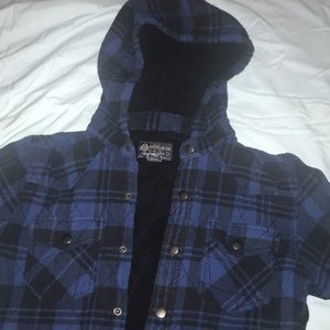 American Rag Plaid Flannel Hooded Jacket